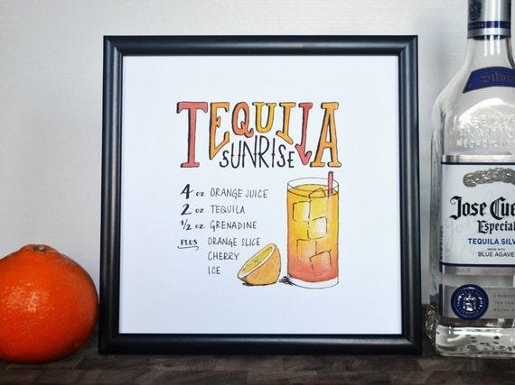 Tequila Sunrise Cocktail Recipe Print Of Original Etsy