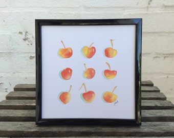 RAINIER CHERRIES // Print of Original Watercolor Art, Wall Art, Kitchen Decor, Fruit Series