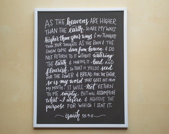 "Isaiah 55:9-11 - As The Heavens Are Higher Than The Earth - 8.5x11"" Chalkboard-Style Hand Lettered Art Print, Scripture Art"