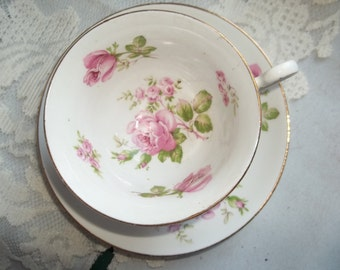 Vintage Woodlands Bone China Tea Cup and Saucer - Pink Roses