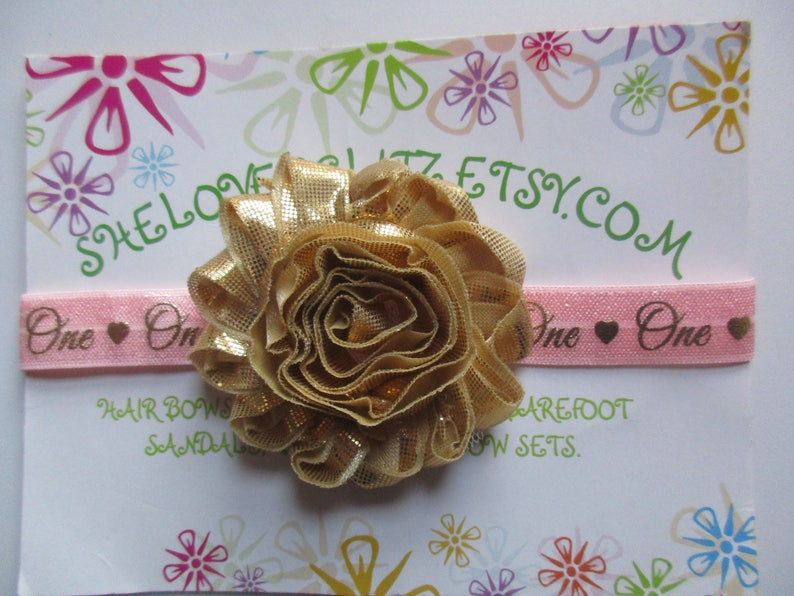 Pink and Gold 1st Birthday Headband First Birthday Headband Pink and Gold Baby Headband, Baby Girl Headband 1st Birthday Headband