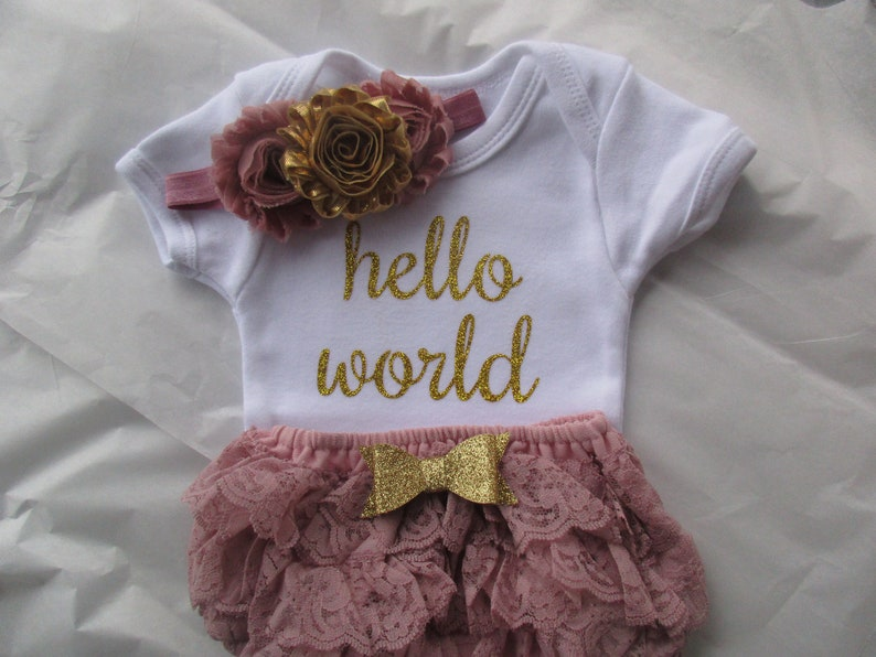 8110a31dbeb3 Baby Girl Coming Home outfitHello World Newborn Outfit Baby