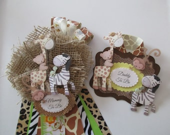 Set-Safari Baby Shower Corsage, Mommy To Be Baby Shower Corsage, Jungle  Baby Shower Corsage, Baby Shower Badge,
