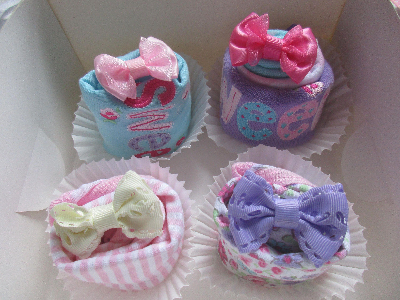 Bodysuit Washcloth Cupcake New Infant Newborn Baby Shower Gift Boy Girl