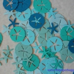 100 Sand Dollar and Starfish Blue Combo Die Cuts Confetti Embellishments