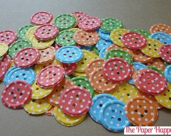 100 Buttons Embossed Dots or Solid Die Cuts Confetti Punches