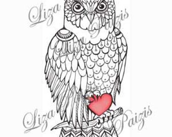 Red Owl Tattoo Design With Flowers Whimsical Art Steampunk Etsy