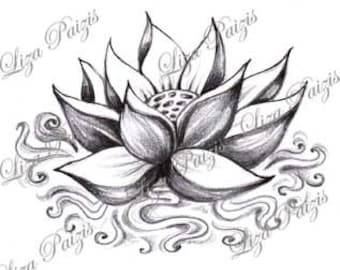 Water Lily Tattoo Etsy
