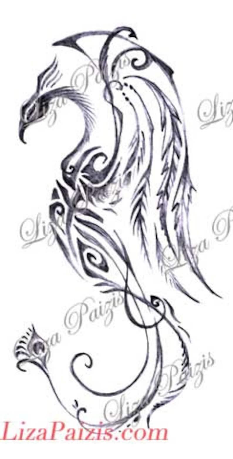 60ab5ebc5 Tribal phoenix dragon with peacock tail black and gray tattoo | Etsy