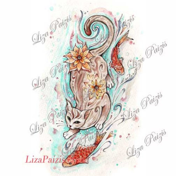 Cat With Koi Fish Tattoo Design Japanese Style Watercolor Cat Etsy