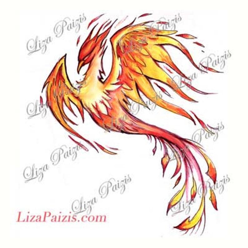e6cbe679e4d0c Fire flame Phoenix watercolor tattoo design by Liza Paizis | Etsy