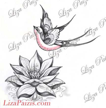 Lotus Et Hirondelle Tatouage Design Lotus Rose Fleur Nenuphar Etsy