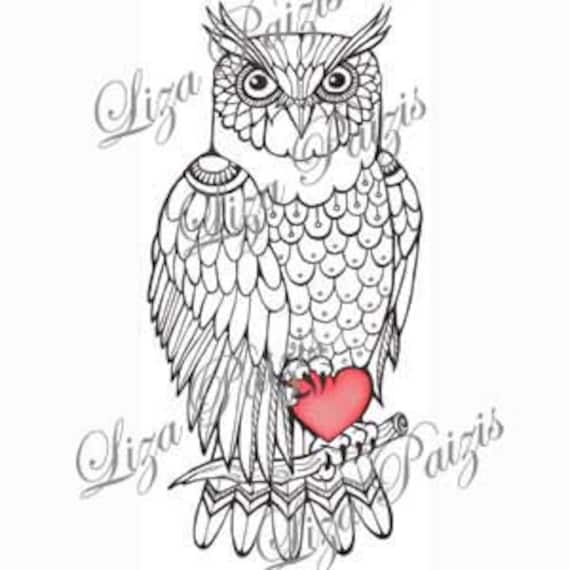 Owl Tattoo Black And White Owl Tattoo Design With Red Heart Etsy