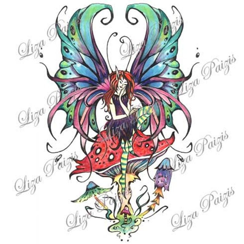 ad378ac0f Fairy tattoo design Gothic style fairy sitting on a mushroom | Etsy