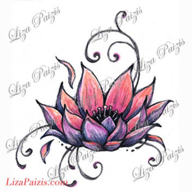 Lotus Tattoo Design Pink Lotus Flower Waterlily Tattoo By Liza Etsy