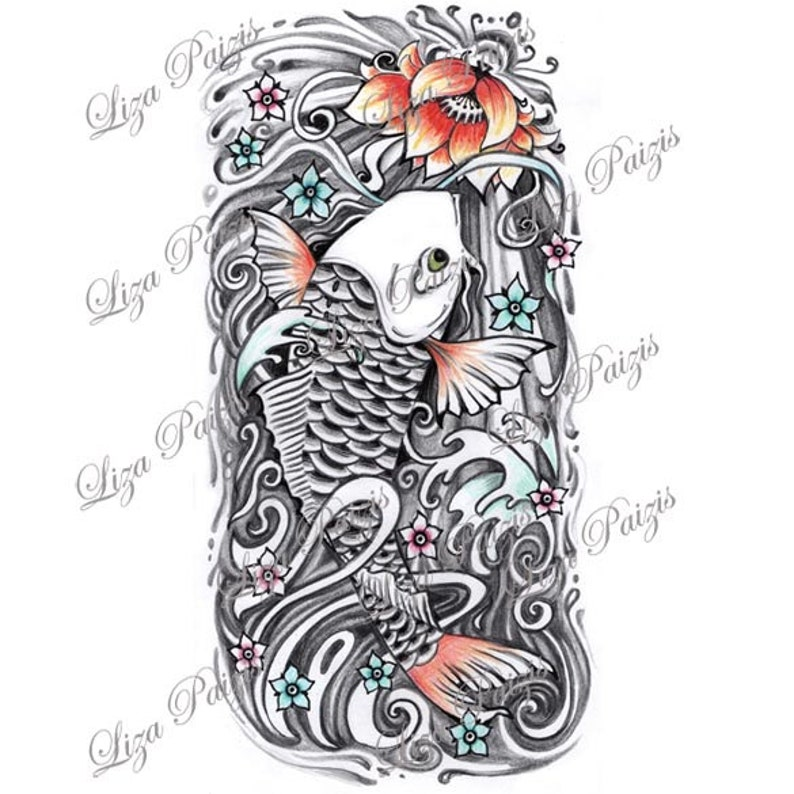 Koi Fish And Lotus Half Sleeve Japanese Color Tattoo Design By Etsy
