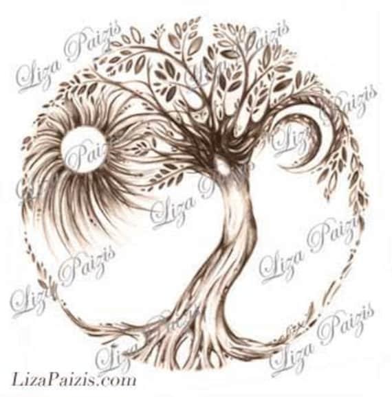 árbol De La Vida Tattoo Diseño De Liza Paizis árbol Original Etsy