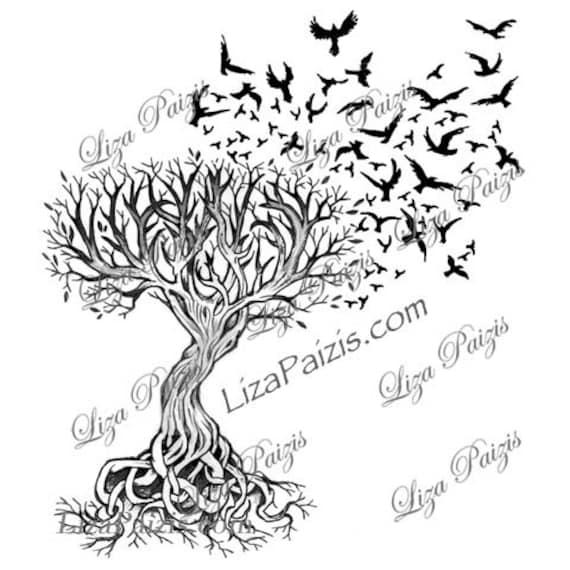 Tatuaje De árbol Celta De La Vida Con Cuervos Diseño De Liza Etsy