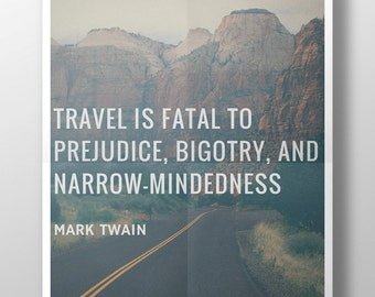Mark Twain - Travel Quote - Printable 8 x 10 - Instant Download - Motivational, Inspirational Quotes