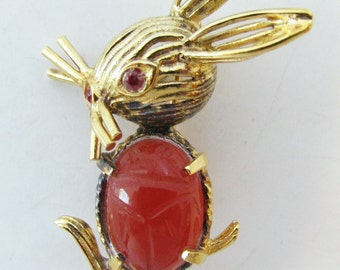 Vintage-Collectible-CR Co-Jewelry-Gold-Sterling Silver-Rhinestone-Pin-Brooch-Costume Jewelry-Rabbit-Women-Gift-Birthday Gift-Anniversary