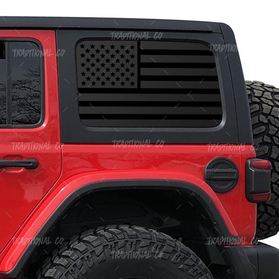 Distressed American flag decal Jeep Wrangler JKU Hardtop side windows Set of 2