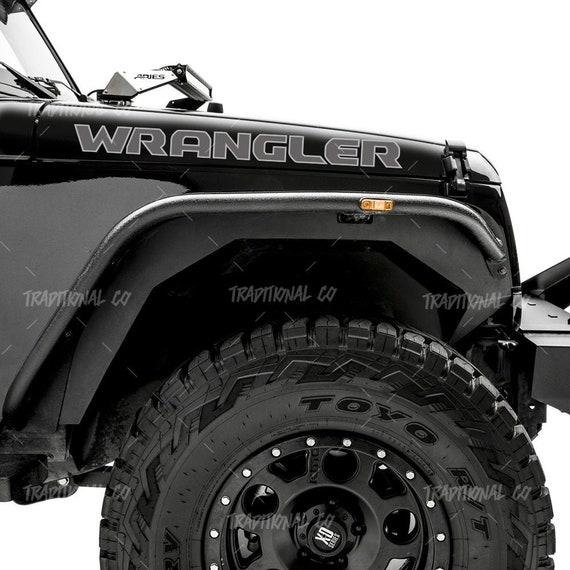 2 pcs sticker compatible with Jeep wrangler Rubicon Unlimited sport YJ TJ JK JK JL JLU MULTI-COLOR any custom text hood decal