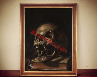 witch home occult art skeleton decor satanic wall art #29 magick anatomical vintage poster Human skull print medieval witchcraft