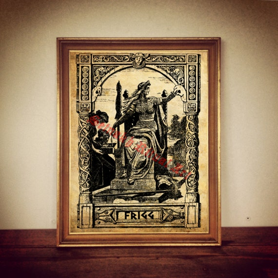 frigg and fulla print norse mythology nordic goddess etsy