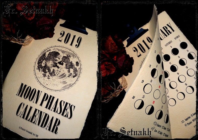 2019 Calendar Moon Phases Calendar Lunar Calendar vintage image 0