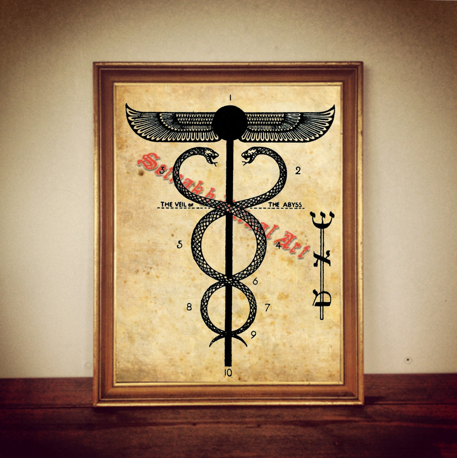 Snake Caduceus Ancient Egyptian Winged Sun Symbol Print Etsy