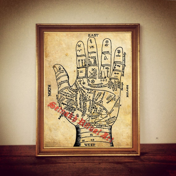 Palmistry #1 Vintage illustration palm reading zodiac occult wall print poster