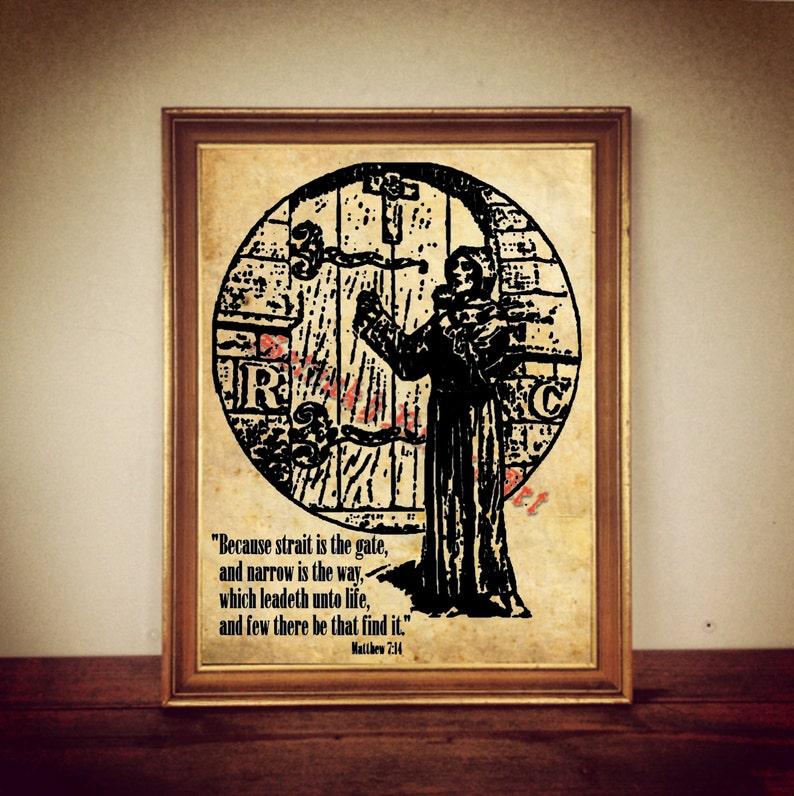 Rosicrucian print, rose croix illustration, esoteric poster, occult art,  magic home decor, AMORC, Lectorium Rosicrucianum #267