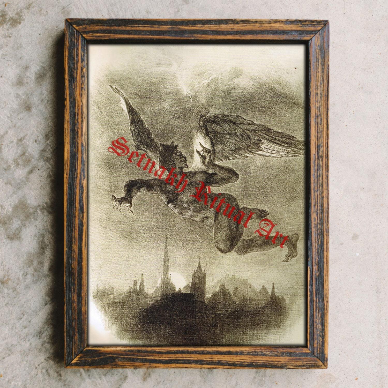 Lucifer Print Satanic Art Occult Poster Satan Wallart
