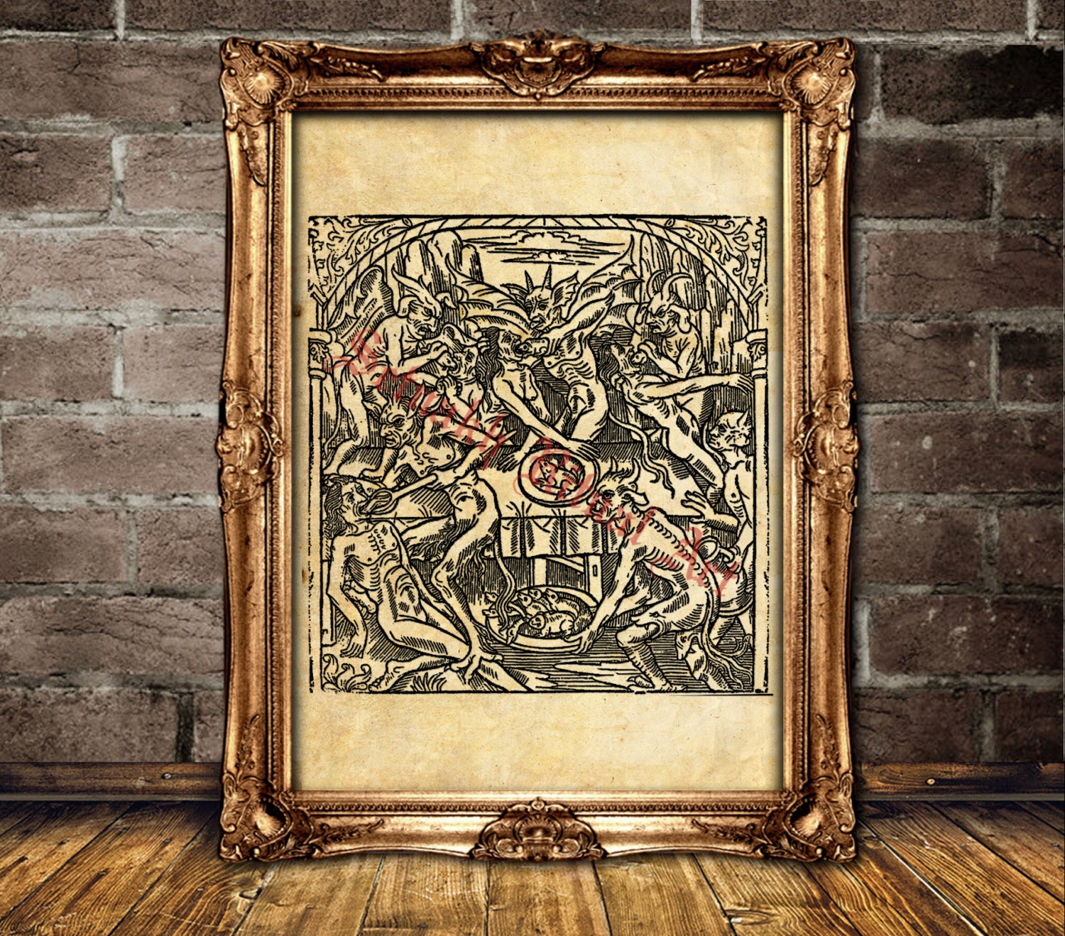 Devil Poster Witch Art Print Satanic Occult Home