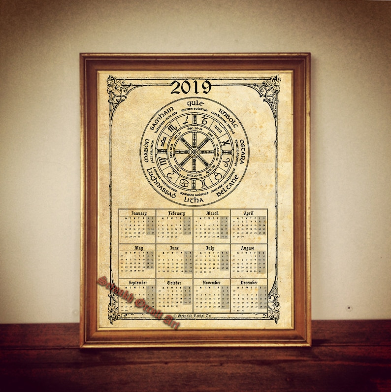 2019 Calendar with Wheel of the Year, occult calendar, pagan calendar,  print, magic calendar, occult print, magic decor, magic print