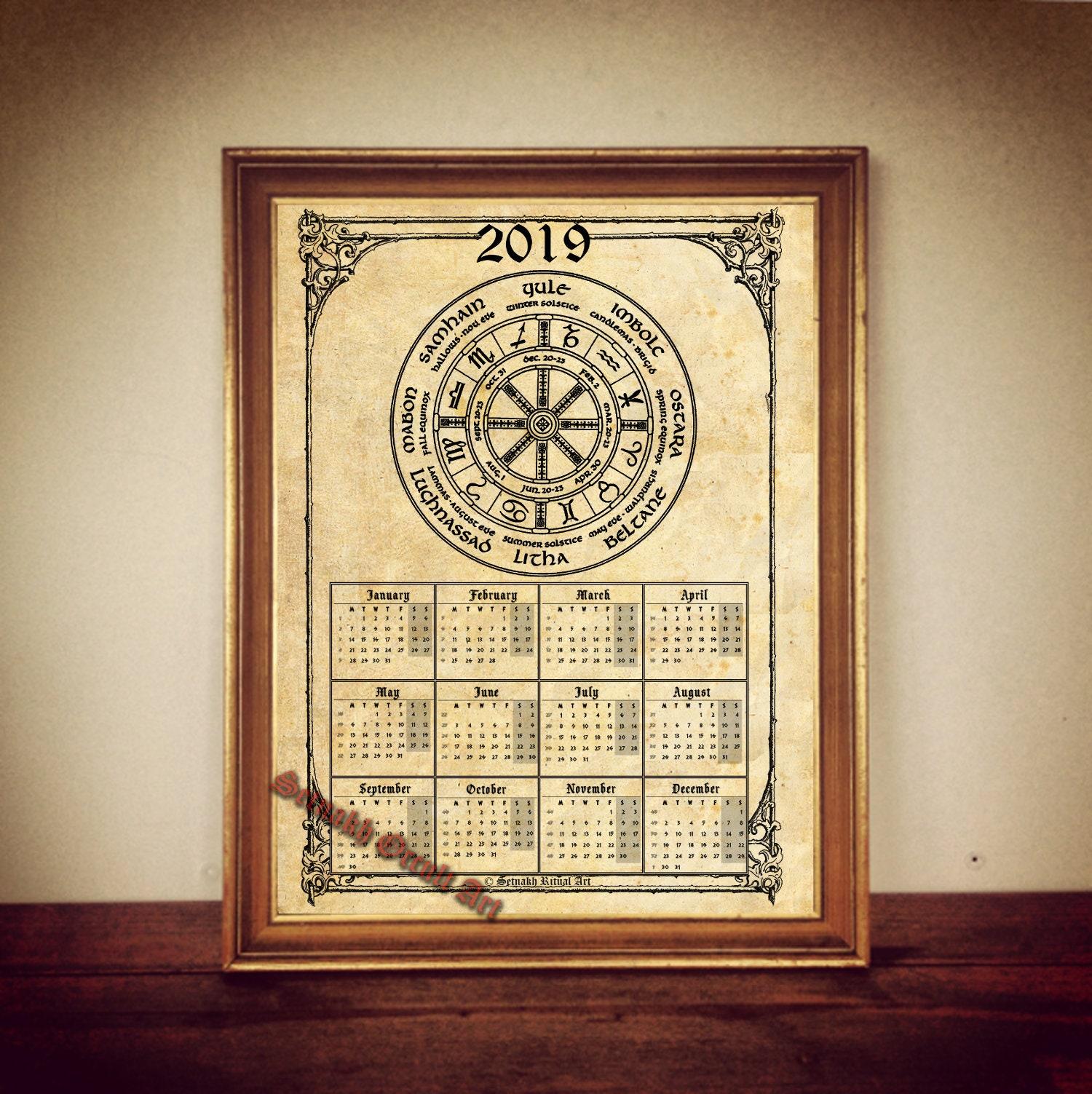 Pagan Calendar.2019 Calendar With Wheel Of The Year Occult Calendar Pagan Calendar Print Magic Calendar Occult Print Magic Decor Magic Print
