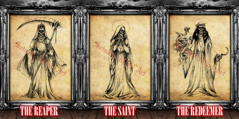 4d50db7cc74a Santa Muerte art Saint Death antiqued prints Occult altar
