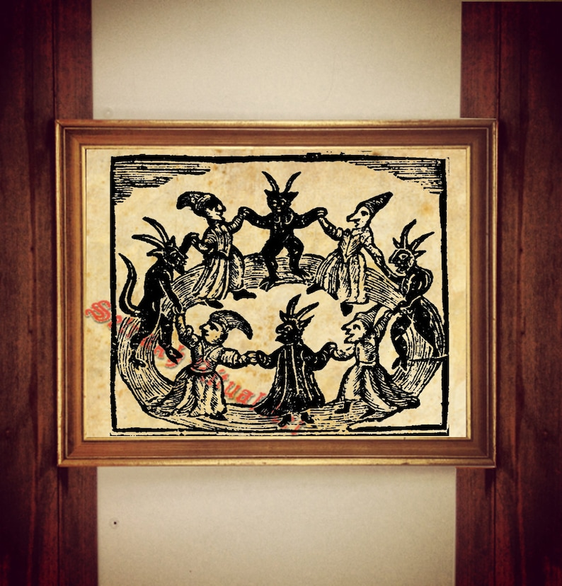Black Sabbath Print Witches And Devil Dancing Illustration