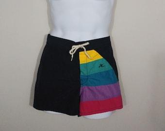 b16564eac3 Men's Vintage Black Hobie Swim Trunks / 1980s Retro Surf Shorts / Medium /  Drawstring Rainbow Striped Swim Suit