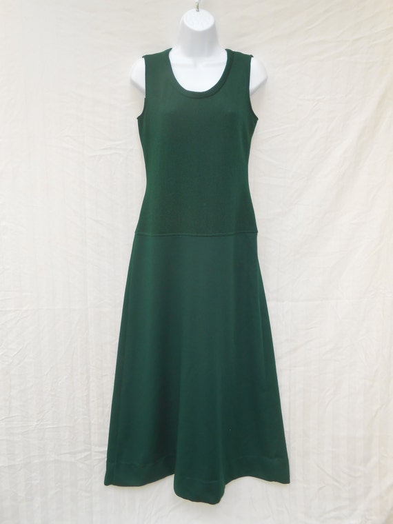 Vintage 1970s Forest Green Ribbed Maxi Dress XS  S