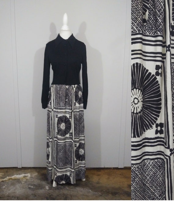 70s Black & White Maxi Dress By Parade New York/ S