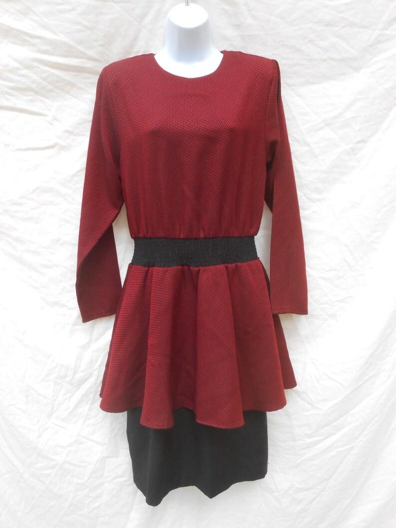 d0b6900758 80s Red   Black Layered Dress Peplum Waist Poly Blend   Size