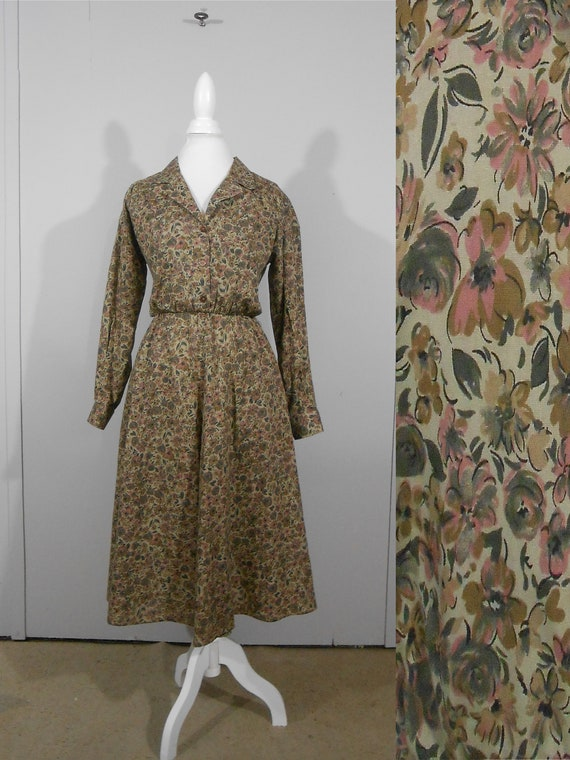 80s Olive Green Dress Fit And Flare Floral Print 1