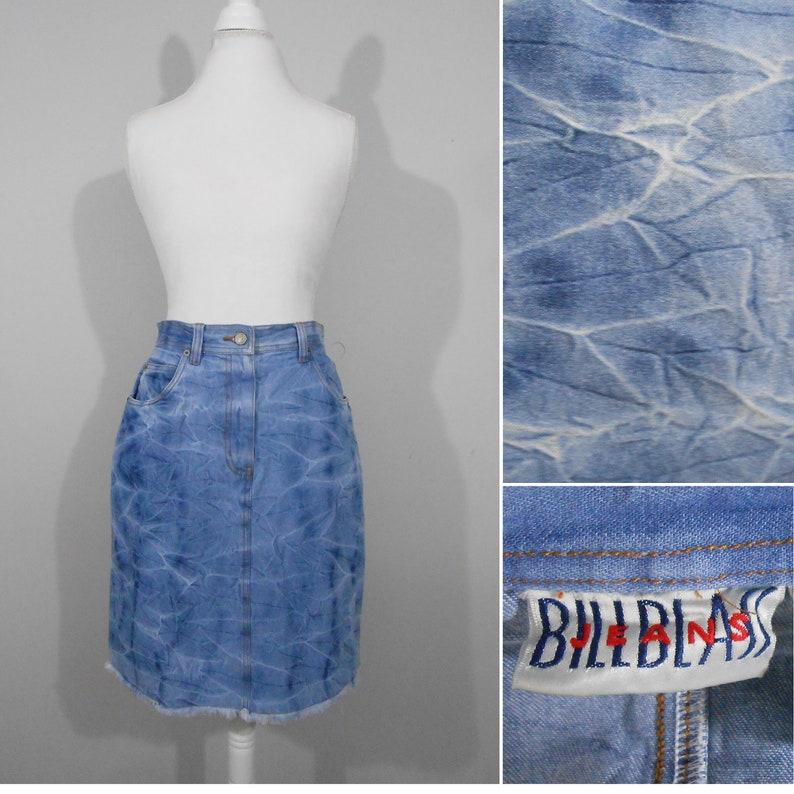 935746aa02 80s Bill Blass Denim Skirt Acid Wash Fringed Jean Skirt / Size | Etsy
