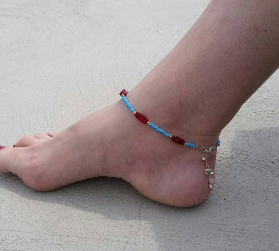 Beaded Anklet Bracelet Valentines Day Gift Idea Beach Anklet Bracelet Seed Beads Jewelry Foot Jewelry