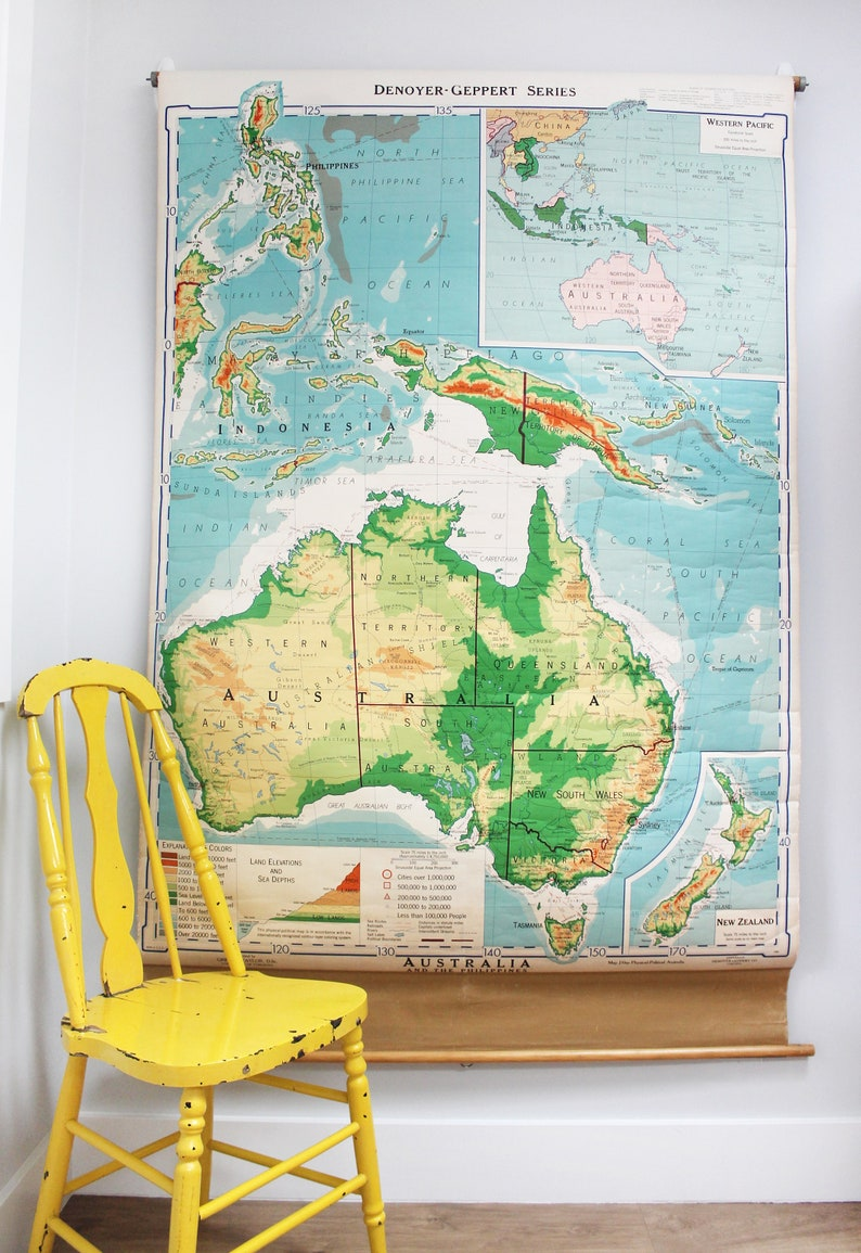 Map Of Australia 20000 Years Ago.Vintage Pulldown Schoolroom Map Of Australia And The Etsy