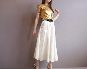 363cbbb91 pearl silk skirt / long wrinkled silk skirt / ivory cream / S / M / L