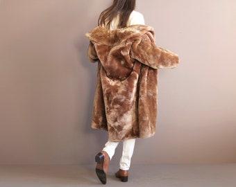 a04705718febe vintage beige copper real mutton fur coat   teddy bear coat   lamb fur coat   small size fur coat