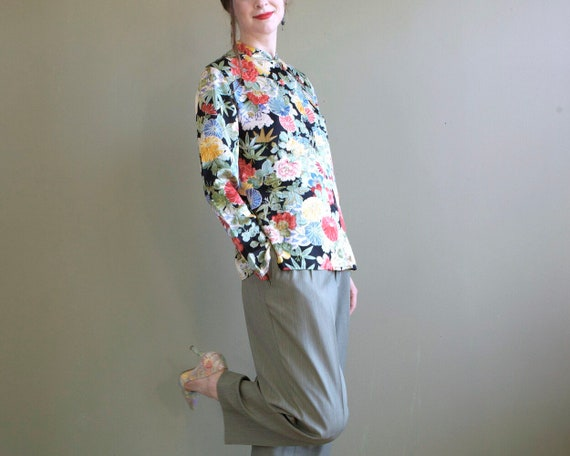 Floral silk blouse / asian inspired silk blouse /… - image 1