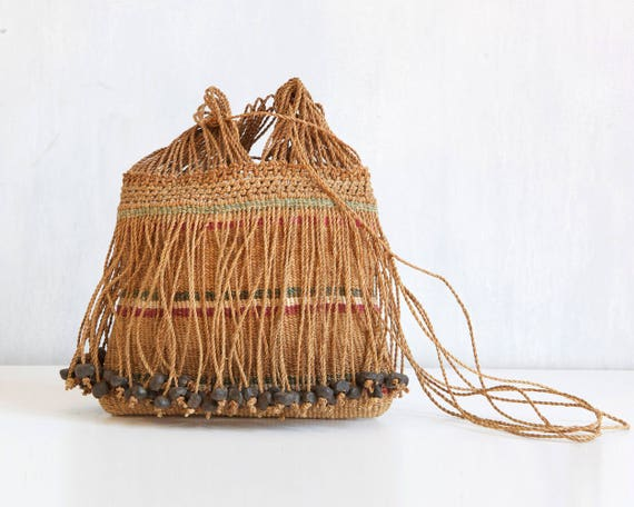 rare OOAK hand woven straw bag / Straw boho should